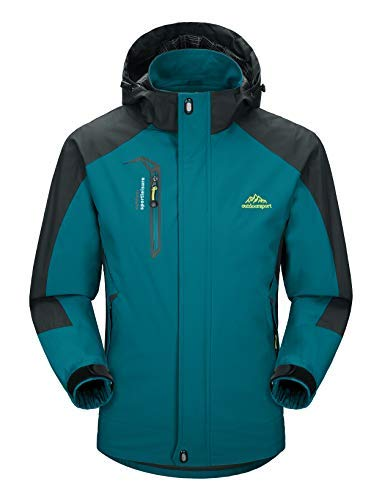 MAGCOMSEN Bergjacke Herren Wasserdichte Winterjacken Leichte Winddichte Jacken Herren Schnee Warme Jacken Outdoor Regenjacke mit Kapuze Blau