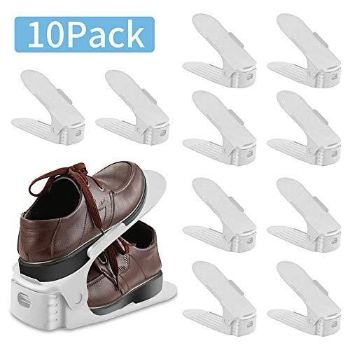 Organizador de ranuras para zapatos Juego de 10 piezas Zapatos para ahorrar espacio en el cl/óset Ranuras 3 pasos Calzado de pl/ástico ajustable antideslizante Zapatero Estante Organizador blanco