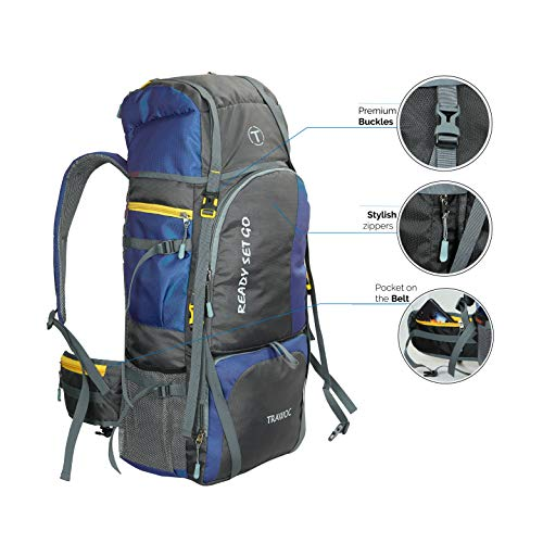 TRAWOC 60 Ltr Trekking Rucksack Travel Bag Hiking Backback, Navy Blue(1 YEAR WARRANTY)
