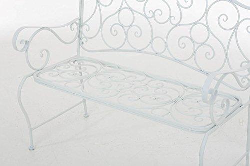 CLP Metall Gartenbank TUAN, 2-er Sitz-Bank Garten, Eisen lackiert, Design nostalgisch antik, 105 x 50 cm Weiß - 7