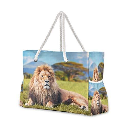 Hunihuni Strandtasche, afrikanischer Löwe, Schultertasche, Reisetasche mit Baumwollseil-Griffen, Reißverschluss oben, zwei Außentaschen