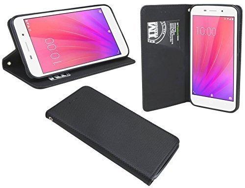 ENERGMiX Buchtasche kompatibel mit ZTE Blade A602 Hülle Hülle Tasche Wallet BookStyle mit Standfunktion in Schwarz