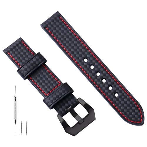 Cinturino Orologio 26mm Pelle Cinturino Orologio 26mm Pelle Fibra Di Carbonio Vera Pelle Per Uomo Compatibile con Fibbia in Acciaio inossidabile Panerai