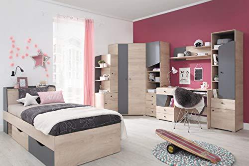 QMM Traum Moebel Jugendzimmer Kinderzimmer komplett Davis Set B Eckschrank Schreibtisch Bett 120x200 Regale
