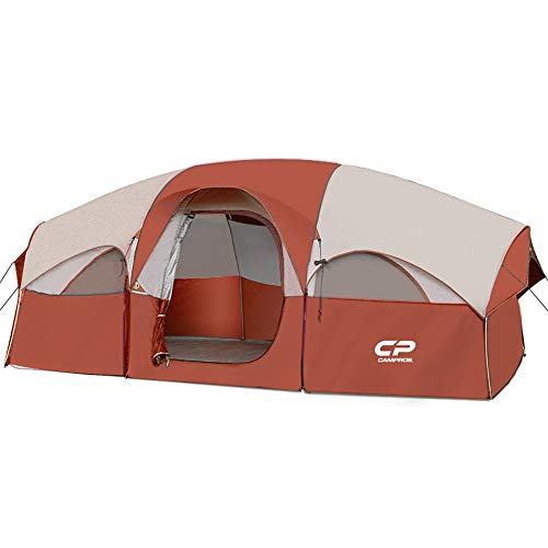 CAMPROS Tent-8-Person-Camping-Tents, Waterproof Windproof Family Tent, 5 Large Mesh Windows, Double Layer, Divided Curtain for Separated Room, Portable with Carry Bag, for All Seasons (Red)