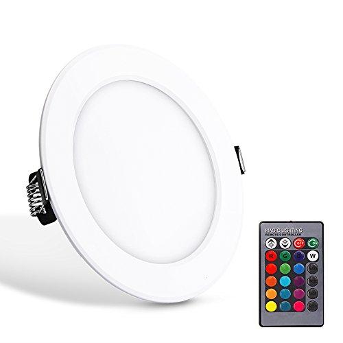 Voyant de 5W RVB LED, ABEDOE Télécommande Ultra Slim LED Encastré rond Plafonnier fonction de mise hors tension avec LED Driver