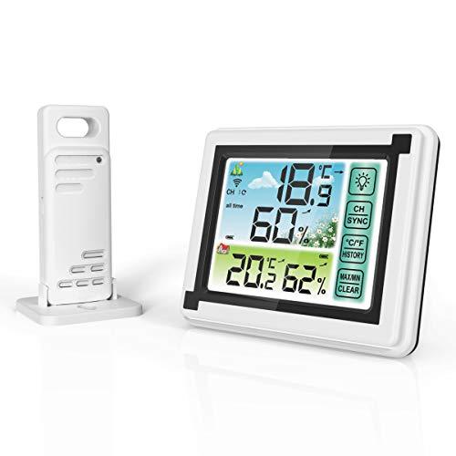 N / A Estaciones meteorológicas inalámbricas Termómetro Digital Higrómetro Medidor de Humedad Interior/Exterior Monitor de Temperatura con Sensor Exterior, Control táctil Pronóstico del Tiempo