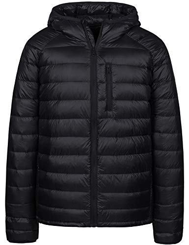 Wantdo Men's Lightweight Packable Insulated Hooded Puffer Down Jacket(Black,L)