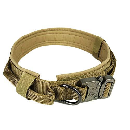 AGN Tactical Dog Collar Ausgezeichnetes verstellbares Hundehalsband aus Nylon für das Elite-Training mit Steuergriff-brown-L43-50cm