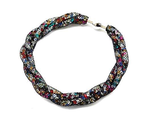 BC552-Brazalete magnético Stardust tubos de rejilla elaborada. trenzados con cristales multicolor-modo de fantasía