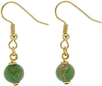 GlassOfVenice Pendientes de cristal de Murano con bolas de luz de estrellas - Esmeralda