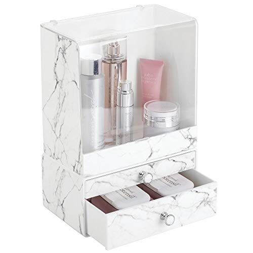 mDesign Decorative Stackable Plastic Makeup Organizers for Bathroom Vanity, Countertop, Cabinet - Easy-Access Cosmetic Storage, 2 Drawer Unit and Tall Bin Box with Lid - Set of 2 - Marble