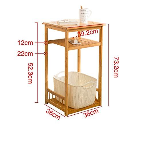 SXRL Beistelltische, Kleiner Stabiler Nachttisch mit zusätzlichem Unterboden, Holz-Couchtisch, Natur (Farbe: Bambus, Größe: 39,2 x 39,2 x 63,2 cm), Bambus-Farbe, 39.2 * 39.2 * 73.2cm