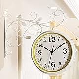ZCSM Horloge murale rétro silencieuse Double face Mode idyllique Blanc horloge de Station en fer forgé montre