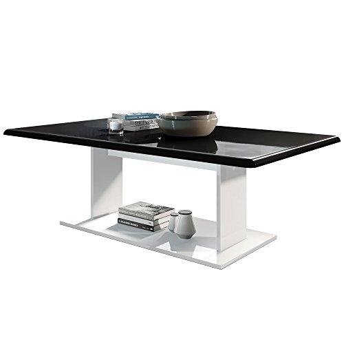 Vladon Couchtisch Beistelltisch Wohnzimmertisch Mono in Weiß mit Tischplatte in Schwarz Hochglanz