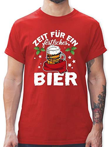Weihnachten & Silvester - Zeit für EIN festliches Bier - weiß - XL - Rot - Geschenk - L190 - Tshirt Herren und Männer T-Shirts