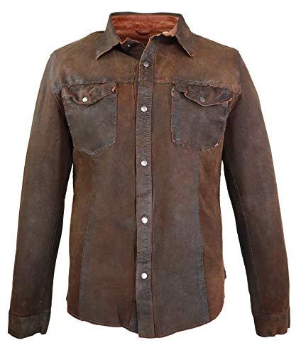 RICANO Reverse Shirt, wendbares Herren Lederhemd (Slim Fit), Lamm Nappa Echtleder (Schwarz, Navy Blau, Cognac Braun) (Cognac Braun, L (52))