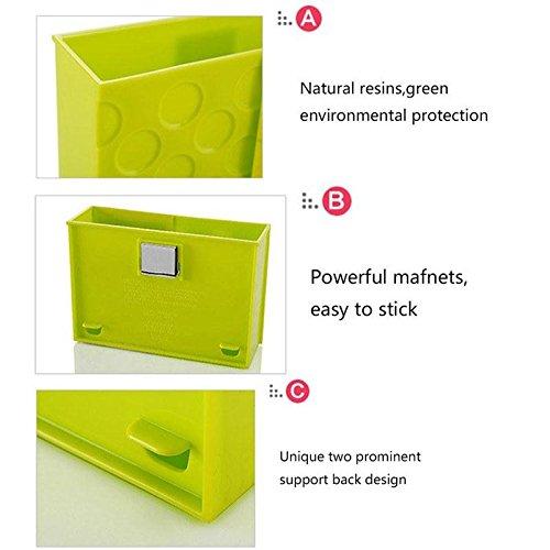 Auntwhale Kühlschrank Starke Magnet Organizer Korb Box Container Magneten Kunststoff Halter für Rezept Hinweis Schreibwaren Utensil Lagerregal Geschirr Büro Küche Kinderzimmer Zufällige Farbe