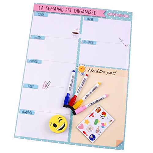 Planificador Semanal Magnético, 4 Rotuladores de Colores, 1