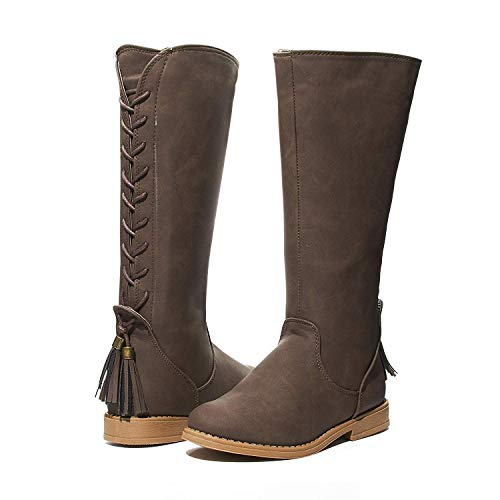 Girls Lace Up Winter Riding Boots Size 3 with Back Tassel Shoes Brown