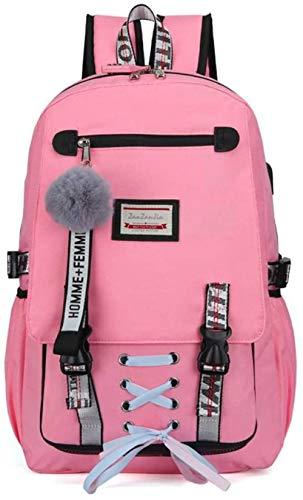 School Bags For Girls Nylon Waterproof College Rucksack Fashion Casual Daypack Women Bookbag Boys Schoolbag Teenagers Durable Unisex Student Backpacks (Pink)