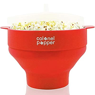 Colonel Popper Healthy Microwave Popcorn Maker Silicone Bowl Collapsible BPA Free