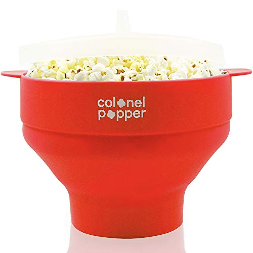 Save %28 Now! Colonel Popper Healthy Microwave Popcorn Maker Silicone Collapsible Bowl Hot Air Pop A...