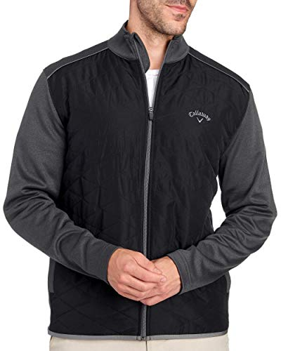 Callaway Quilted Full Zip Golf Jacket Iron Gate Heather Opti-Shield Size XL