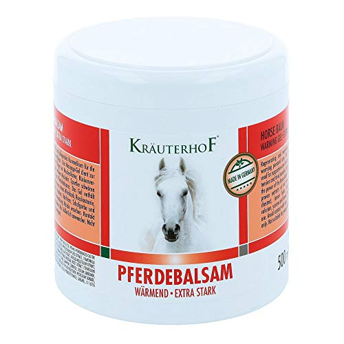Kräuterhof Pferdebalsam wärmend - Extra stark 500ml - Massagegel - Unterstützend bei Gelenkbeschwerden, Rückenverspannungen und Muskelkater