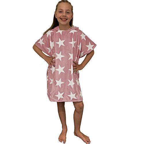 HOMELEVEL Kinder Poncho Badeponcho Handtuch Cape Baumwollmischung Velours Frottee Badetuch mit Kapuze 8-11 Jahre Altrose Sterne, Altrose Sterne, 8-11  Jahre