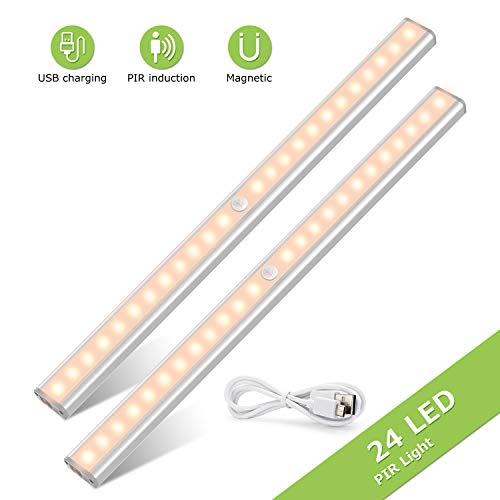 Led Schrankbeleuchtung Unterbauleuchte, Tasmor LED Küchenunterbauleuchte mit Bewegungsmelder, USB aufladbare LED Leiste mit Magnetstreifen für Küchen, Kleiderschrank, Unterschrank (2 Stücke)