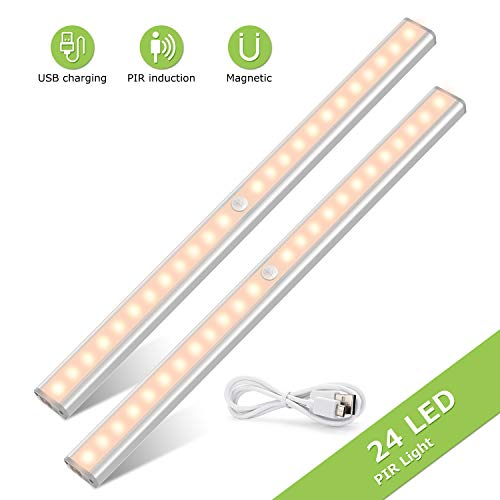 TASMOR LED Sensor Luz del Armario, Inclinada Lámpara para Armario con Tira Magnética Pegada, Auto Encendido/Apagado Pegado en Cualquier Lugar, 24 LED Inalámbrico USB Recargable, 2 Piezas