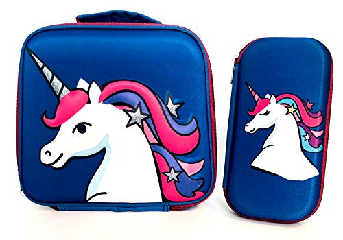 Rattlebox Insulated Unicorn Lunch Box for Girls - Perfect for School Lunch and Snacks - Compatible Bento Lunch Bag for Bentgo Kids Lunch Box and More - Includes Matching Unicorn Pencil Case - (Blue)