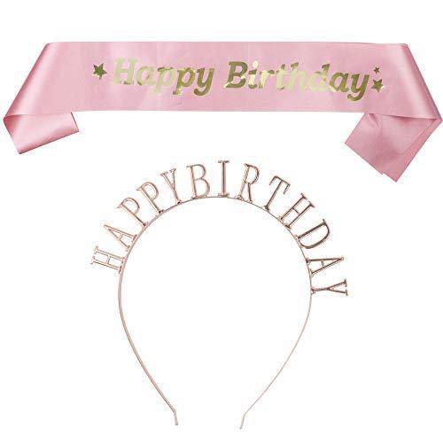 Faja de feliz cumpleaños y tiara de feliz cumpleaños, juego de 1 corona de cumpleaños y 1 banda de chica de cumpleaños. Accesorio perfecto para cumpleaños. Gran fiesta de cumpleaños de las Vegas de 21 cumpleaños o tiara de 16 cumpleaños