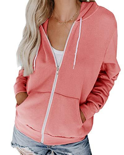 Hiistandd Damen Hoodies Casual Langarm Sweatshirt V-Ausschnitt Pullover Strickjacke Reißverschluss Tops mit Taschen, Rosa, S