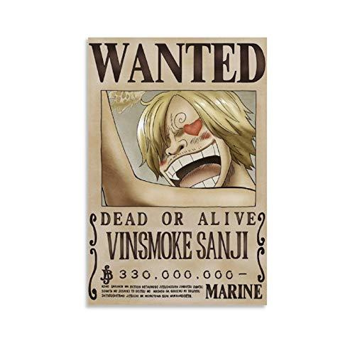 Póster de una pieza de Sanji's Wanted Anime en lienzo, póster y arte de la pared, diseño moderno de la familia dormitorio decoración carteles 30 x 45 cm