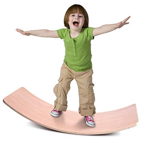 Jungle Wooden Wobble Balance Board Waldorf Toys Balance Board Kid Yoga Board Curvy Board - Wooden Rocker Board 32 Inch Kid Size (Natural)