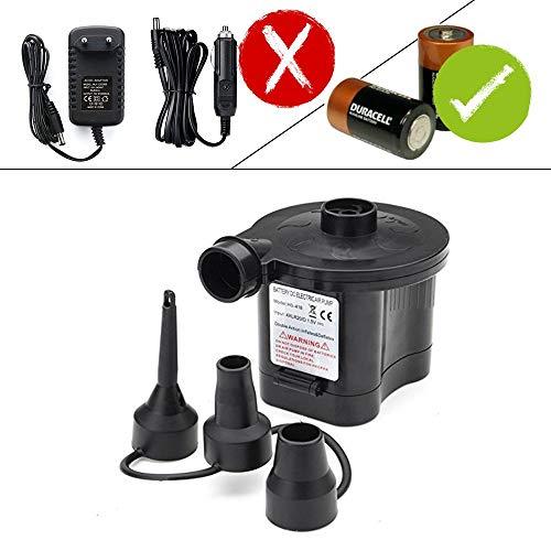 OBEST Bomba de Aire de Batería, Inflador/Deflactor Rápido, Portátil hinchadora con 3 Boquillas, para Playas Colchón de Aire, Bote Inflable, Anillo de Natación (Batería 4D no Incluida)