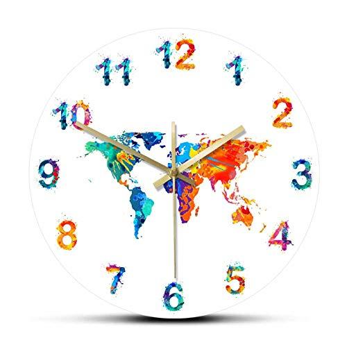 Reloj de pared Mapa del mundo Acuarela Decorativo Reloj de pared silencioso Tierra plana Impresión minimalista Arte digital Reloj de pared colgante Regalo para viajeros Para el hogar Oficina Escuela