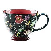 セラミックオートミールカップ朝食カップコーヒーカップの穀物カップ家庭用マグ (Color : ブラック)