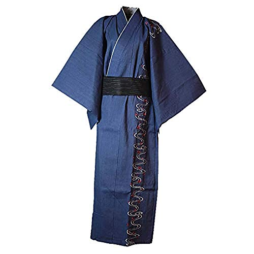 MAYSONG - Kimono japonés de hombre, yukata tradicional, albornoz, pijama, bata de vestir. - Azul - Large