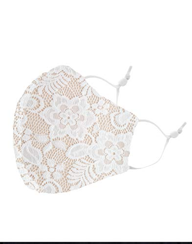 Masker-AID: Lovely in Lace Womens Face Mask for Weddings and Special Occasions (White/Nude Lining)