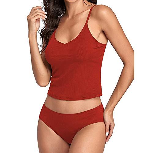 LHWY Bikini De Traje De BañO Dividido Sexy con Correa De Hombro Doble De Color SóLido para Mujer, DiseñO CláSico De Dos Piezas, Adecuado para Playa, SPA, Tomar El Sol, Nadar(Vino,M)