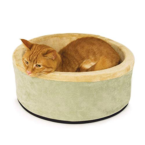 cat beds K&H Pet Products Thermo-Kitty Heated Cat Bed Small 16 Inches Sage/Tan
