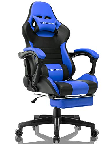Gaming Chair Ergonomic Reclining Racing Computer Game Chairs High Back PU Leather Gaming Desk Chair Large Size E-Sport Chair with Lumbar Support (Navy Blue)