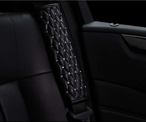 JeVenis 2 uds., Cinturón de seguridad de diamante, almohadilla para el hombro, correa de seguridad para coche de cristal, cubre, alfombrilla para el cuello, cubierta para cinturón de seguridad