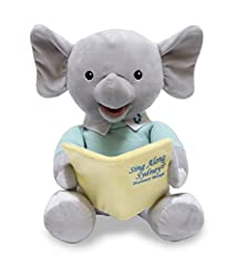 Dressed in a classy mint sweater, Sing Along Sydney is an elephant that sings and sways to 5 nursery rhyme songs and encourages everyone to sing along. Animated Cuddle Barn plush toys sing, talk, move or light up. These soft plush toys are sure to be...