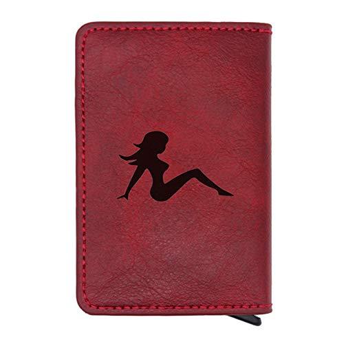 Paquete de Tarjeta ZZXS Negro Clásico Sexy Girl Wallet Glamour Hombres Damas Cuero Encantador Tarjeta Cartera RegaloRojo