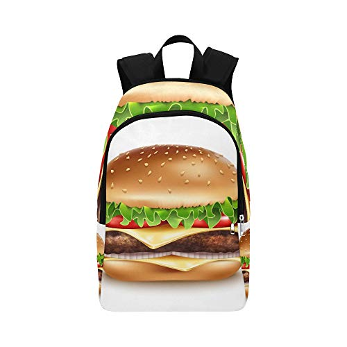 DKGFNK Travel Bag Kids Love Fast Food Tasty Hamburger Durable Water Resistant Classic Hike Bags for Men Best School Bags Gym Backpack for Women Hiking Crossbody Bag