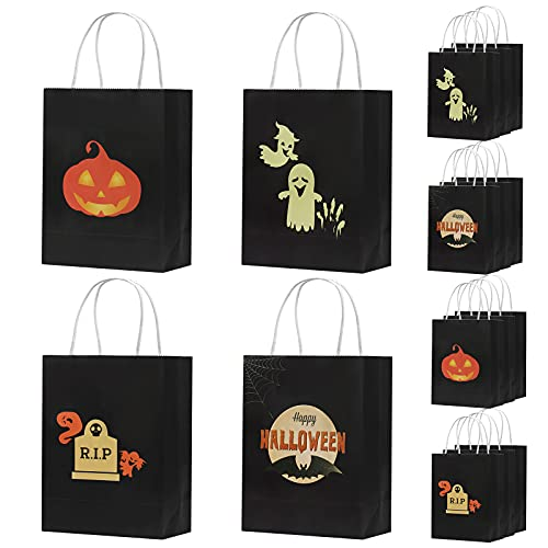 TAROME 16pcs Halloween Paper Gift Bag with Handles Trick or Treat Kraft Tote bag Glow in The Dark Bag Halloween Candy Snack Bag for Halloween Party